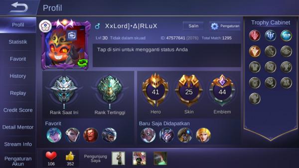 Level 30/hero 41/skin 25 elit karina+balmond