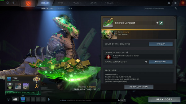 Emerald Conquest (Immortal TI8 Underlord)