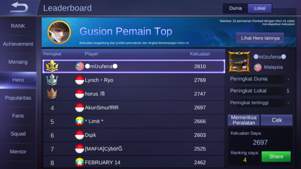 Smurf Legend//Top Local Gusion//Winrate GG//Murah
