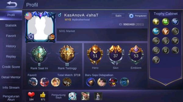 Akun Mobile Legend 3 Epic 6 Special Hero 51