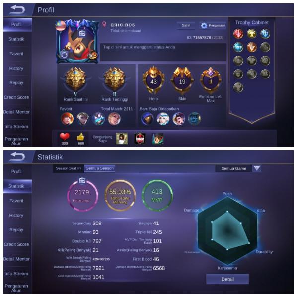 Legend5|Emblem Max2|Hero43|Skin19 Mumer
