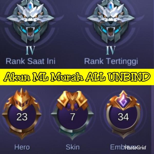Akun ML Hero 23 Skin 7 Murah ALL UNBIND