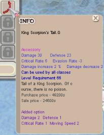 King Scorpion's Tail G. +0