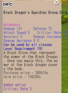 Black Dragon's Guardian Glove XG+9 (BDG)