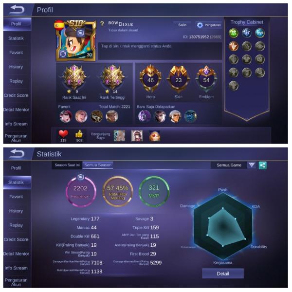Akun Mythic*9|Hero47|Skin23|Emblem Lv 54 GG