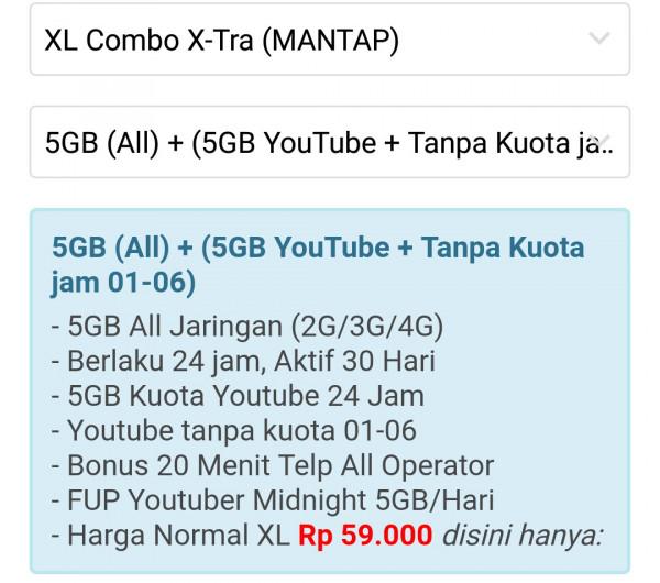 PAKET DATA XL 5GB ALL JARINGAN + 5 GB YOUTUBE