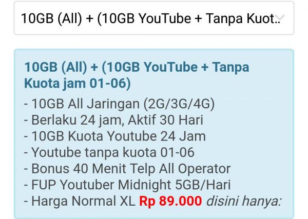 PAKET DATA 10 GB ALL JARINGAN + 10 GB YOUTUBE