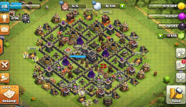 TownHall 9 gems banyak