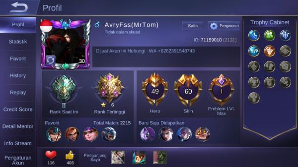 Akun Sultan Miya Legend,Dan skin epic Langka.