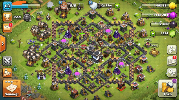 Clash of clans townhall 9 supermax murah