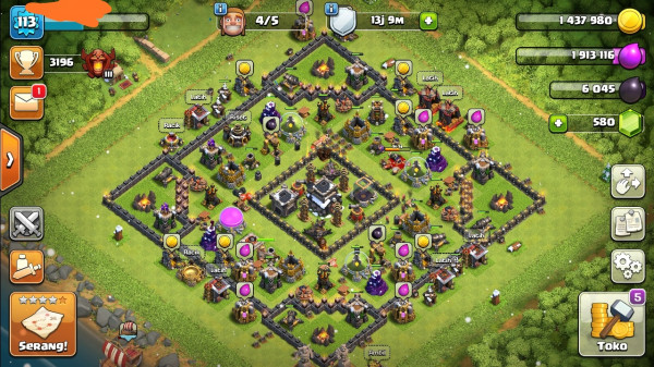 Clash of clans townhall 9 max murah