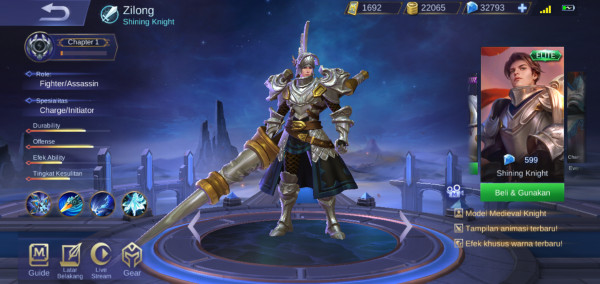 Shining Knight (Elite Skin Zilong)