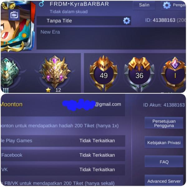 Hero 49 // Skin 36 // Emblem Max 1 GG