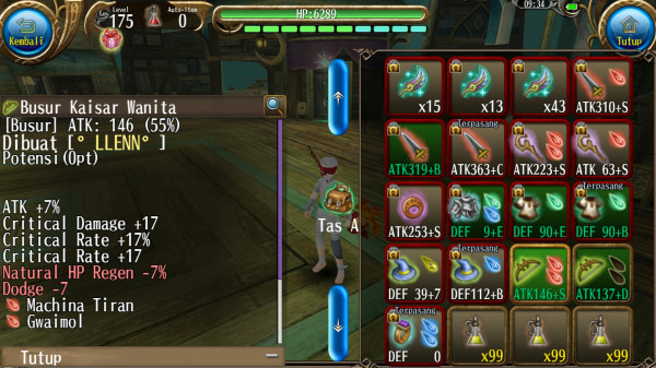Bow/Busur atk 146 a7%cd17cr17%cr17 2s +S