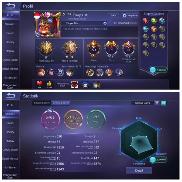 Emblem Max3|Legend4|Hero53|Skin35|Starlight2 GG
