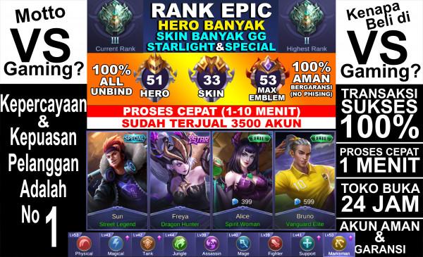 Akun Rank EPIC, BP & WR SULTAN, HERO nya lumayan!!