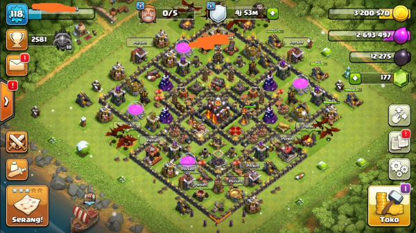 Clash of clans townhall 10 max murah mantap