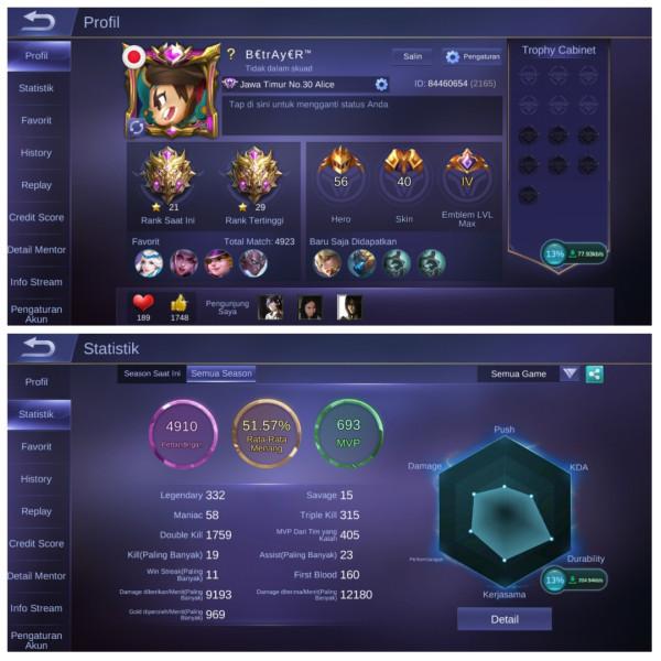 Emblem Max4|Mythic*21|Hero56|Starlight2|Skin40 GG