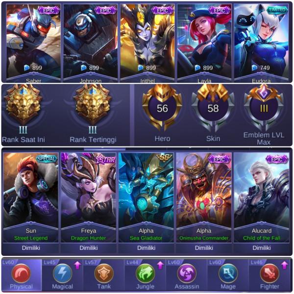 Akun mobile Legends Mantap GG harga bersahabat