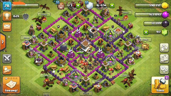 Town Hall 8 Semi Max. Siap War. GG+.