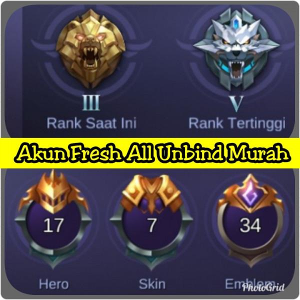 Akun ML Fresh All Unbind Murah