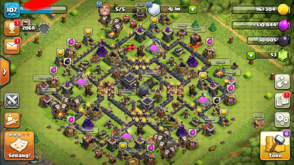Clash of clans townhall 9 max murah mantap