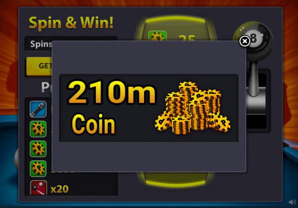 210m coin atau 210jt coin 8 ball pool