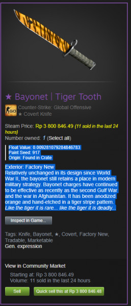 Bayonet | Tiger Tooth Factory New
