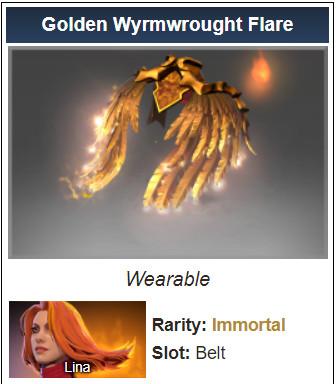 Golden Wyrmwrought Flare (Immortal TI7 Lina)