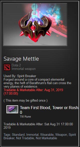 Savage Mettle (Immortal TI8 Spirit Breaker)