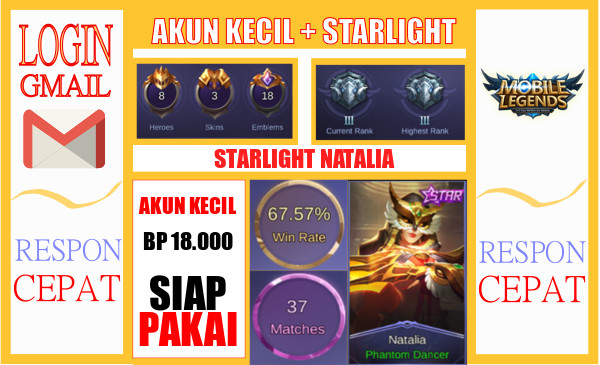AKUN KECIL + SKIN STARLIGHT NATALIA !