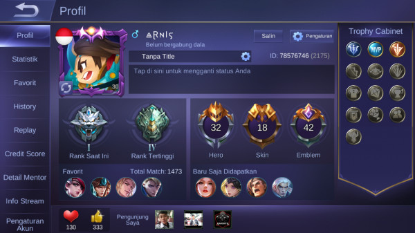 Akun Mobile Legend lvl30Max Hero32 Skin18 Murah Mantap