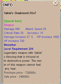 Sakiel's Greatsword XG+7 UNAPP ( ZERK WEAPON )
