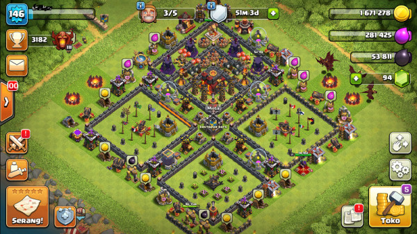 Clash of clans townhall 10 supermax aman murah