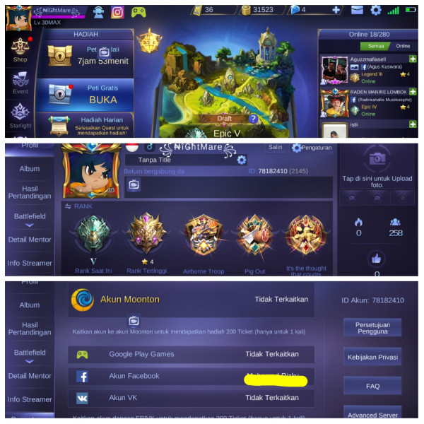 Akun ML Sultan, Hero Epic + Skin GG, All Unbind