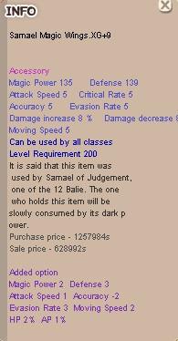 Jual Samael Magic Wings XG+9 (GOOD OPT) dari KnightMarket   itemku