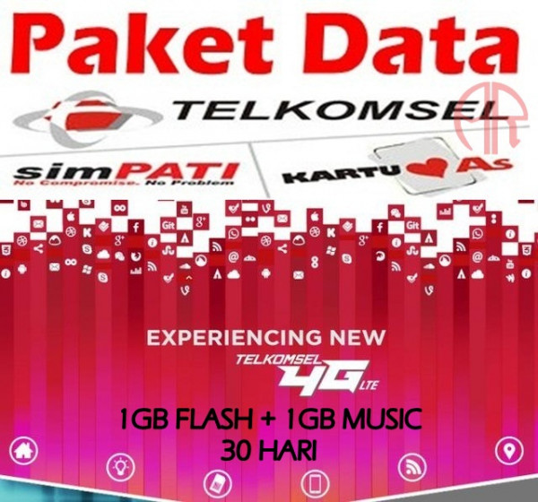 PADAT Telkomsel 1GB FLASH+1GB MUSIC 30HARI