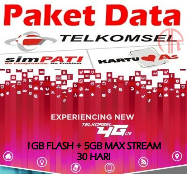 PADAT Telkomsel 1GB FLASH+5GB MAX STREAM 30HARI