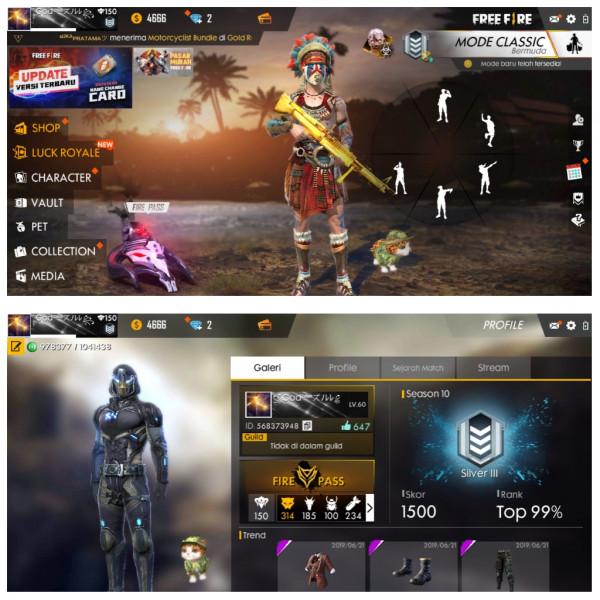 Jual Akun Free Fire, Rank Platinum, Akun Sultan dari Markas Game