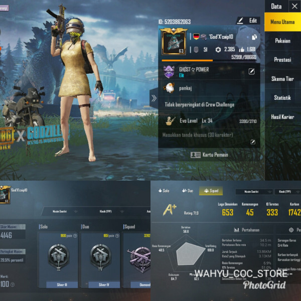 LVL 63 | 3 SET COSTUM | SKIN WEAPON 7 + DIAMOND V