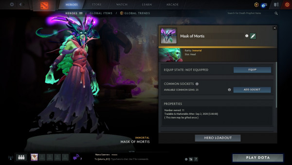 Mask of mortis ( immortal TI 19 Death Propeth)