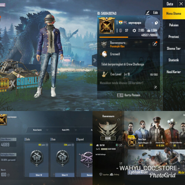 LVL 63 | 3 SET COSTUM | SKIN WEAPON 9 + CLAN LVL 5