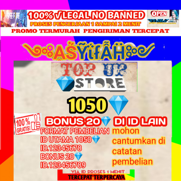 1050 diamonds+free 20 diamond di id lain
