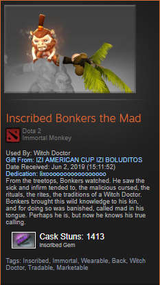 Inscribed Bonkers the Mad (Immortal Witch Doctor)