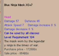 Blue Ninja Mask  BNM XG+7