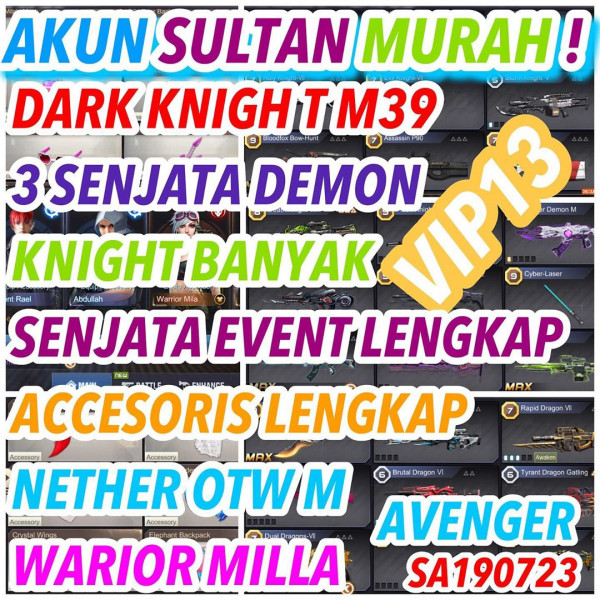 AKUN SULTAN ADA M39+WEAPON LANGKA+ROLE+ACCESORIS