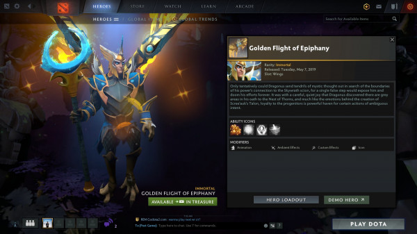Golden Flight of Epiphany (Immortal TI9 Skywrath Mage)