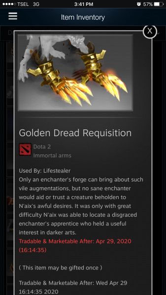 Golden Dread Requisition (Immortal TI9 Lifestealer)