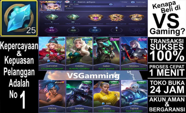 Akun Mobile Legend GG (Tag #sultan #hero #epic)