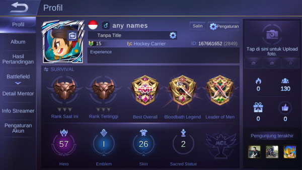 Mobile Legends Max Hero57 Skin26 Allunbind Sultan Aman
